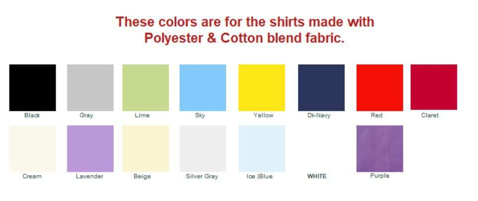 Color chart for poly-cotton shirts