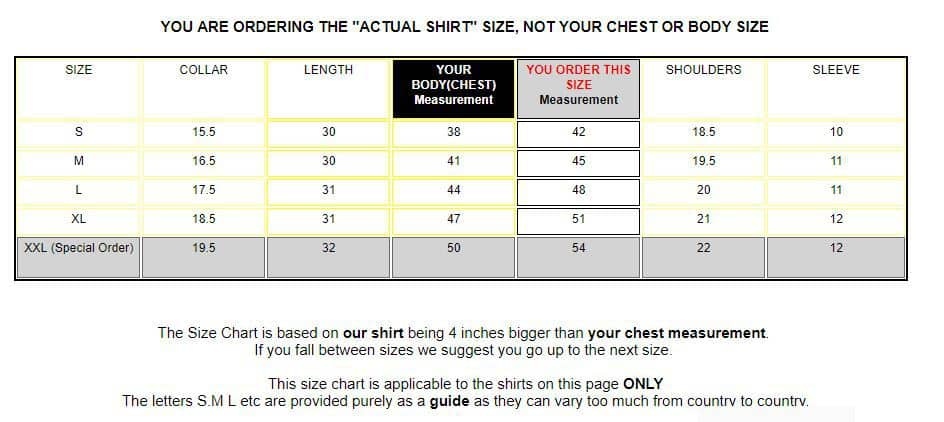 Sizing chart for retro smart shirts