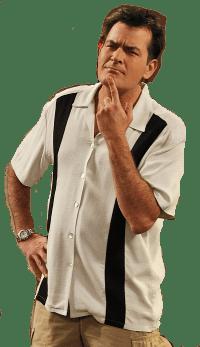 Charlie Sheen wearing bowling shirt